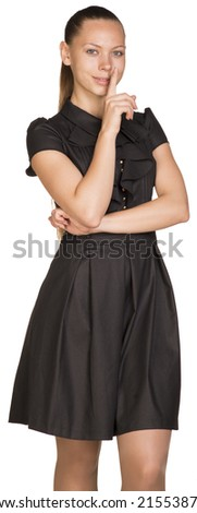 Beautiful woman asking to be quiet - stock photo