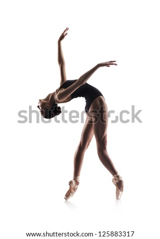 beautiful woman ballet dancer isolated on white background - stock photo