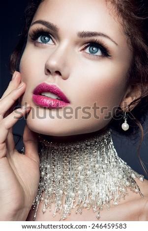 Beautiful woman. Bride. Gems. - stock photo