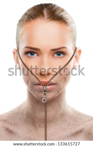 Beautiful woman changing skin, beauty concept,close up over a white background - stock photo