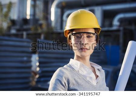 beautiful woman civil engineer close up portrait - stock photo