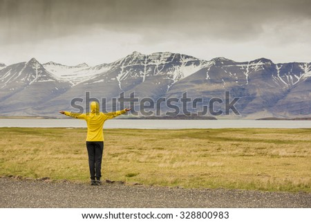 Beautiful woman contemplating the nature - stock photo