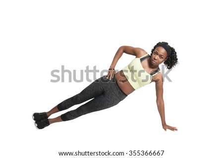 Beautiful woman doing a set of Yoga exercises - stock photo