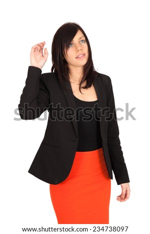 Beautiful woman doing different expressions in different sets of clothes: drunk - stock photo