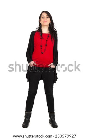 Beautiful woman doing different expressions in different sets of clothes: full length hands in pockets - stock photo