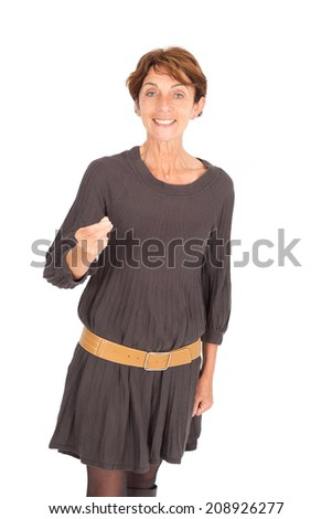 Beautiful woman doing different expressions in different sets of clothes: good news - stock photo