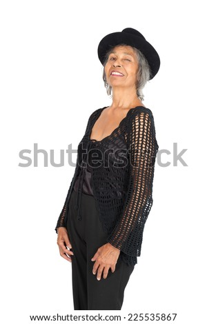Beautiful woman doing different expressions in different sets of clothes: love - stock photo