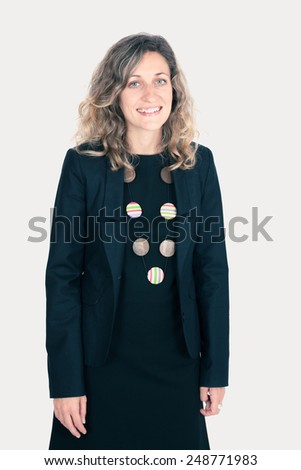 Beautiful woman doing different expressions in different sets of clothes:love - stock photo