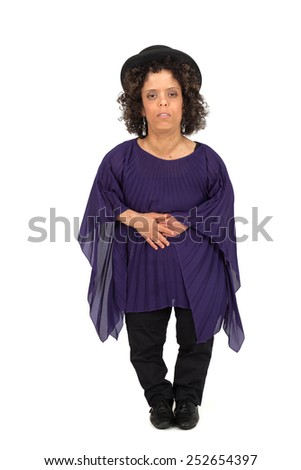 Beautiful woman doing different expressions in different sets of clothes: stomachache - stock photo