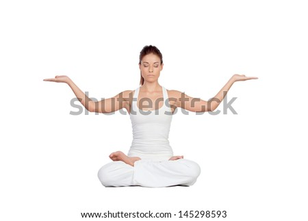 Beautiful woman doing yoga isolated on white background - stock photo