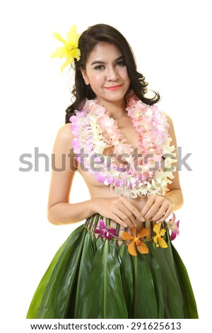 stock photo beautiful woman dress in hawaiian style with flower lei garland of white orchids on white 291625613