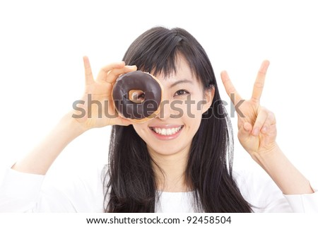 Beautiful woman eating donuts, isolated on white background - stock photo