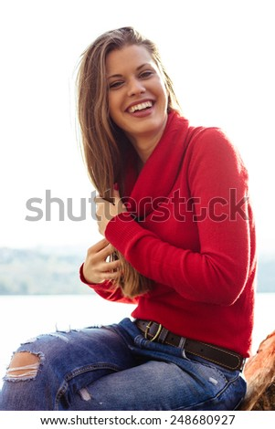 Beautiful woman enjoying in a sunny day  - stock photo