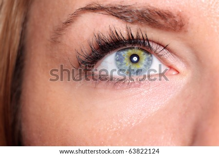 Beautiful woman eyes close up - stock photo
