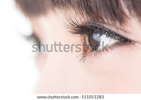 Beautiful woman eyes with long eyelashes. Asian model. Studio shot. - stock photo