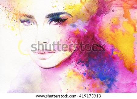 Beautiful woman face. Abstract fashion watercolor illustration - stock photo
