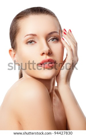 beautiful woman face and hand portrait - stock photo