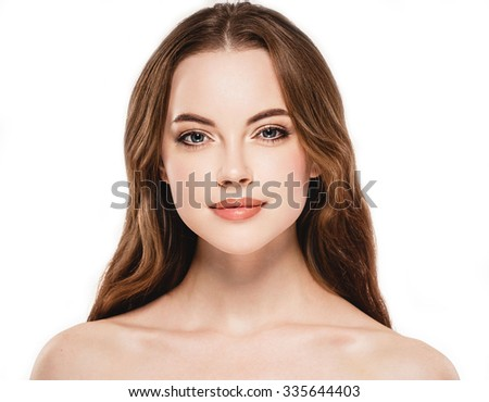 Beautiful woman face close up portrait studio on white  - stock photo