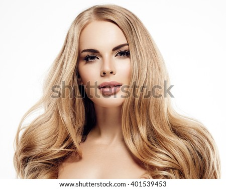 Beautiful woman face close up portrait young studio on white with curly long blonde amazing hair - stock photo