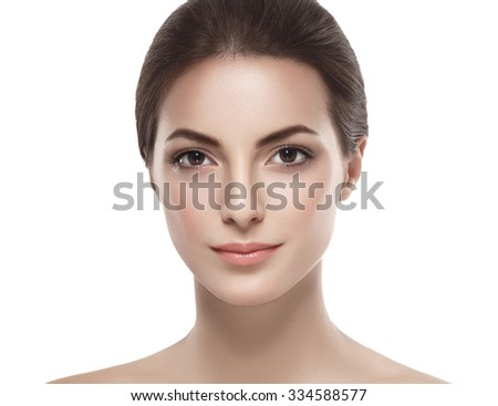 Beautiful woman face close up studio on white  - stock photo