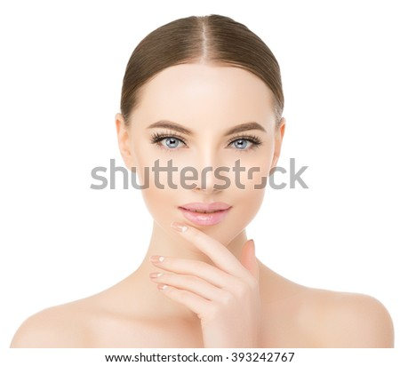 Beautiful woman face close up studio on white Beauty spa model female, clean fresh perfect skin closeup Youth care concept Portrait girl looking at camera, smiling. Cosmetology, manicure nails, hands - stock photo