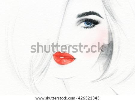 Beautiful woman face. fashion watercolor illustration - stock photo
