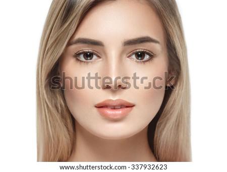 Beautiful woman face portrait close up studio on white blonde  - stock photo