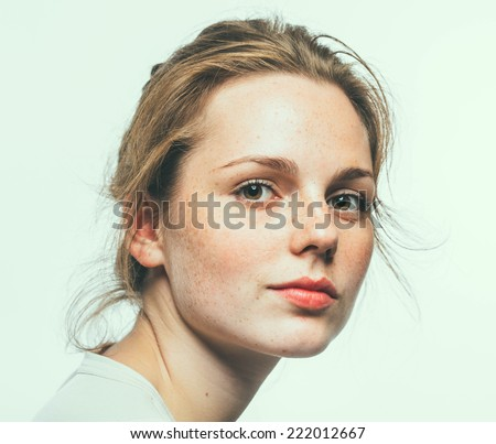 beautiful woman face portrait young  - stock photo