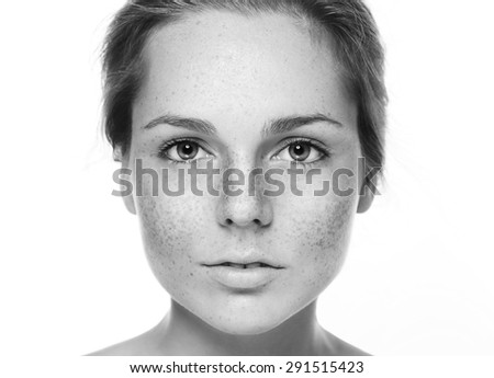 Beautiful woman face studio black and white  - stock photo
