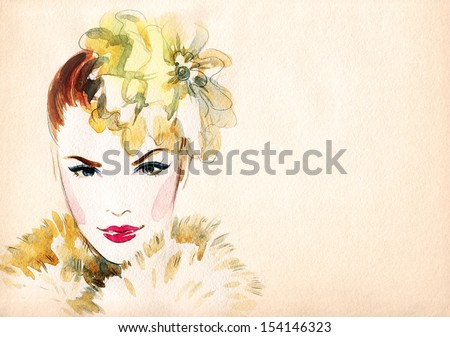 beautiful woman face. watercolor illustration - stock photo