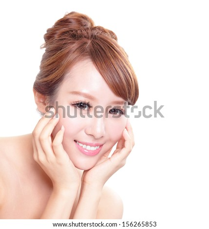 Beautiful Woman face with hands with health skin and teeth, concept for skin care and dental care, asian woman - stock photo