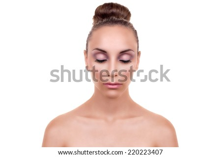 Beautiful woman face with smooth skin and eyes closed isolated. Body care - stock photo