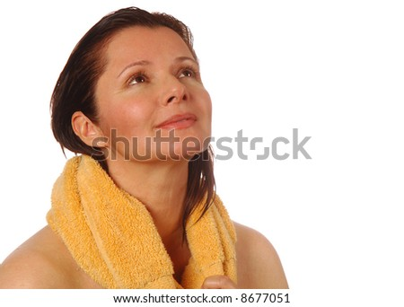 Beautiful woman feeling blissful and relaxed after a workout - stock photo