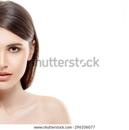 Beautiful woman half-face portrait close up studio on white with sexy lips - stock photo