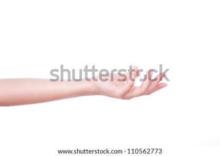 Beautiful woman hand holding isolated on white background - stock photo