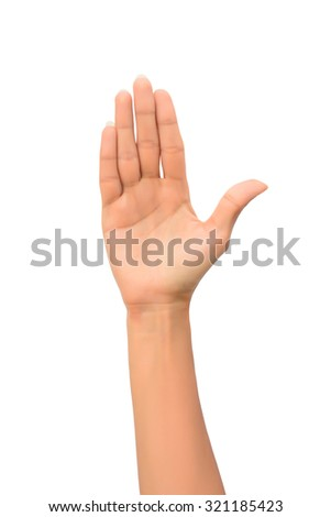 Beautiful Woman hand making sign. Isolated on white background - stock photo