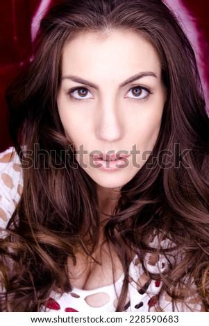 Beautiful woman headshot - stock photo