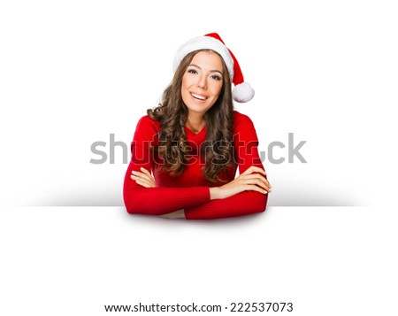Beautiful woman holding a blank paper sign isolated on white - stock photo