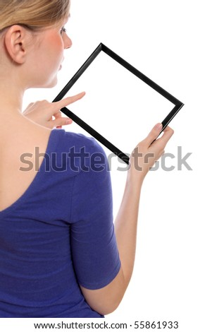 Beautiful woman holding a blank touchpad pc, 1 finger touches the screen, you can add whatever you want in the screen - stock photo