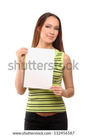 Beautiful woman holding empty white board, isolated on white background - stock photo