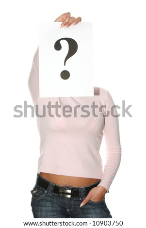 Beautiful woman holding question mark - stock photo