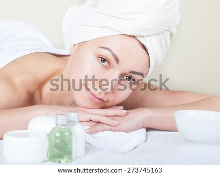 beautiful woman in a  spa salon - stock photo