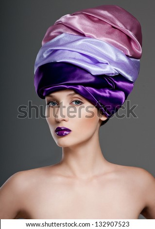 beautiful woman in a turban - stock photo