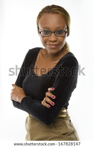 Beautiful woman in business attire wearing glasses - stock photo