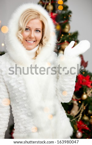 beautiful woman in Christmas style makeup - stock photo