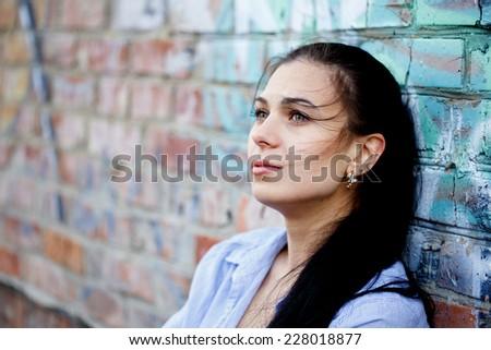 Beautiful woman in depression - stock photo