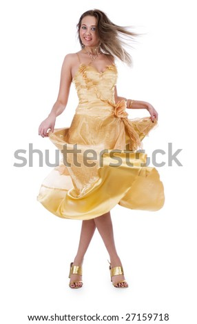 Beautiful woman in evening dress on a white background - stock photo