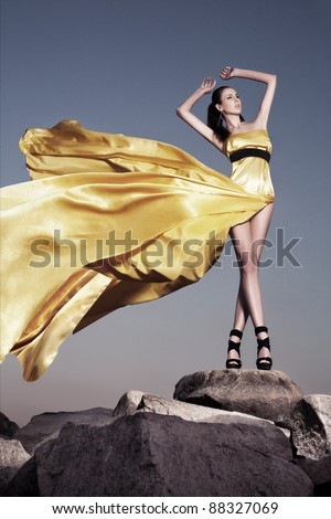 Beautiful woman in evening dress standing on a rock blown by the wind. Fashion photo - stock photo