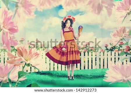 beautiful woman in fairy garden, art work - stock photo