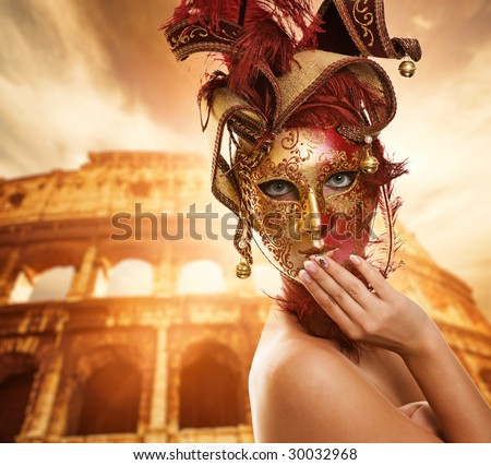 Beautiful woman in front of Colosseum (Rome, Italy) - stock photo